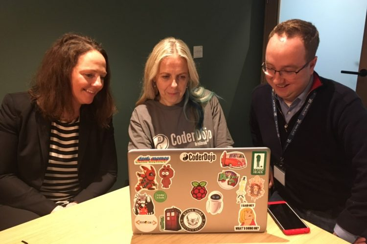 From left, , Nicola Buckley, Park Place Advanced Engineering and Support Center VP; Barbara Hegarty, National Coordinator, Coder Dojo Ireland; and Dillon Burke, Par Place Support Center Supervisor, in Cork, Ireland.